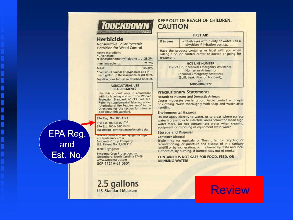 Review EPA Reg. and Est. No.