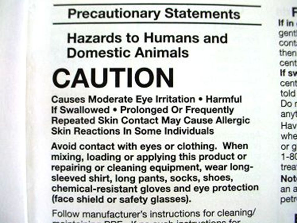 Label information on PPE for mixing and loading pesticides.
