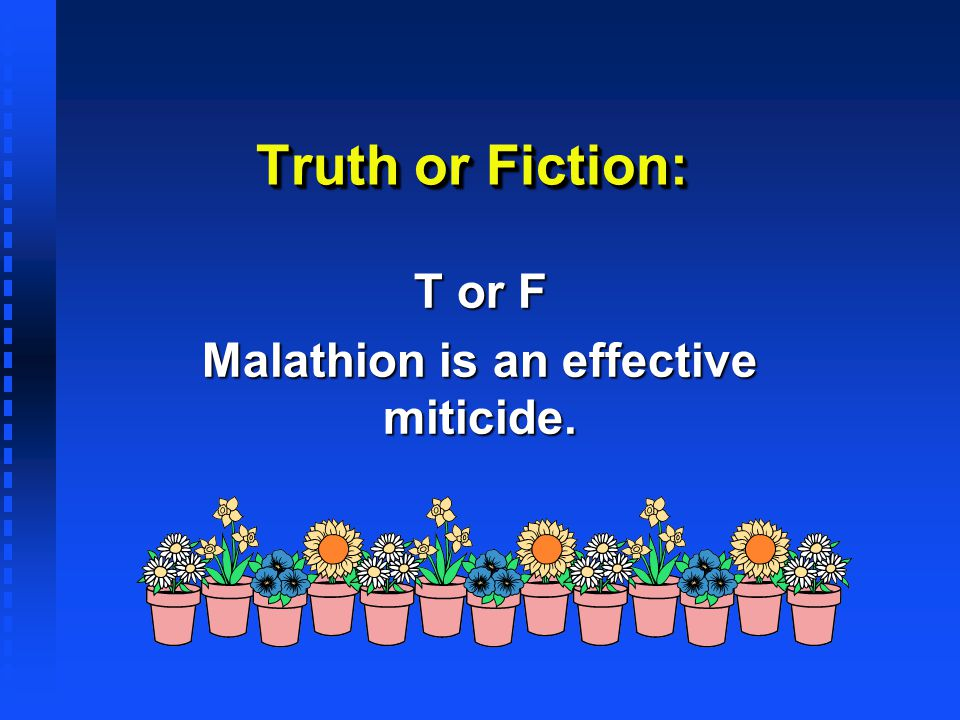 T or F Malathion is an effective miticide.