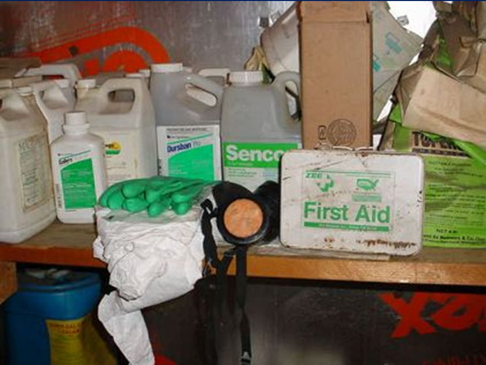 Imprper storage of PPE. PPE should never be stored with pesticides.