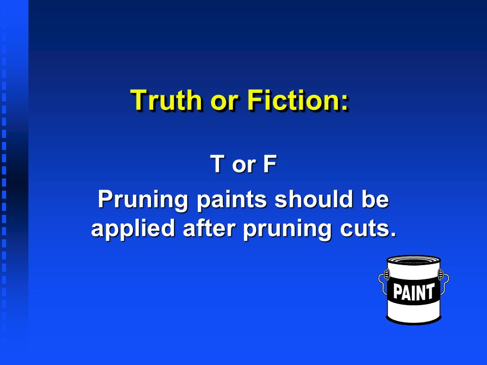 T or F Pruning paints should be applied after pruning cuts.