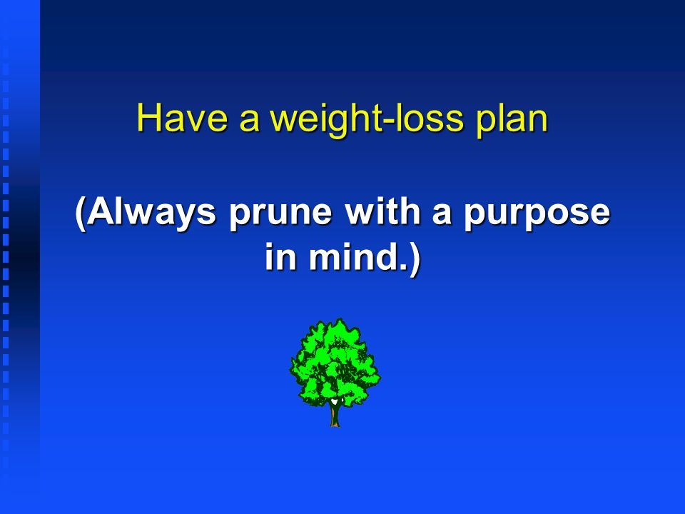 Have a weight-loss plan (Always prune with a purpose in mind.)
