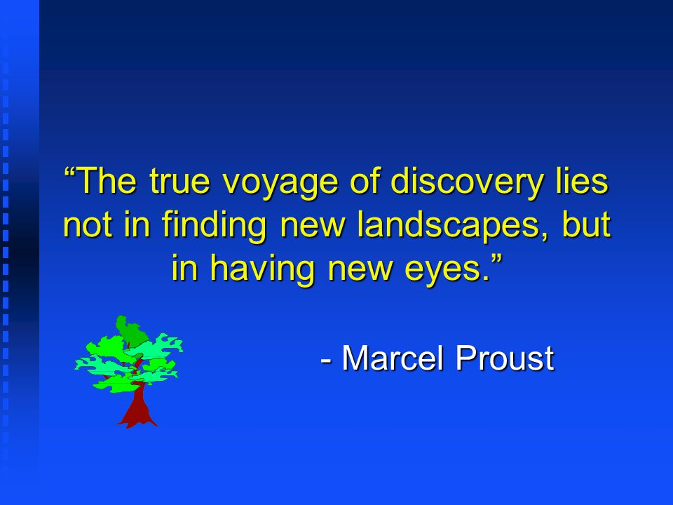 The true voyage of discovery lies not in finding new landscapes, but in having new eyes. - Marcel Proust