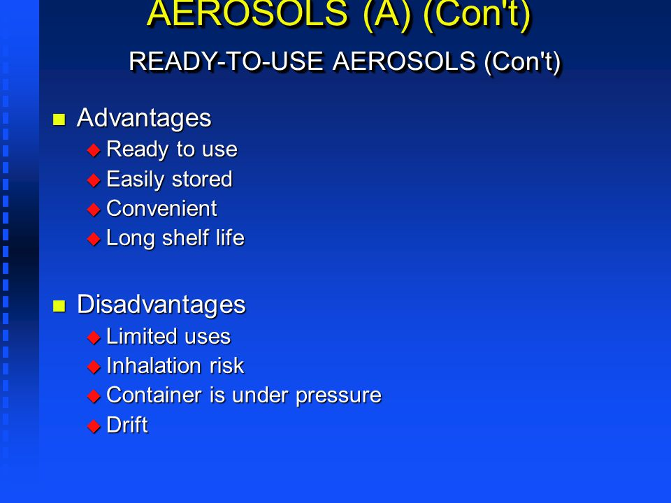 AEROSOLS (A) (Con t) READY-TO-USE AEROSOLS (Con t)