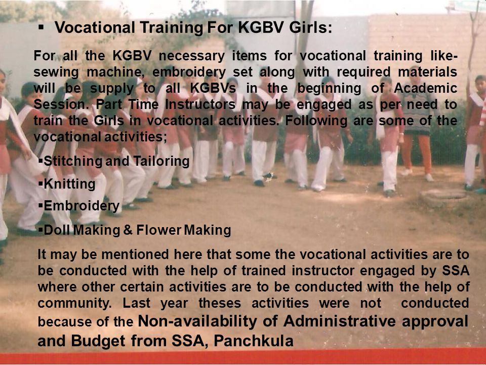 Vocational Training For KGBV Girls: