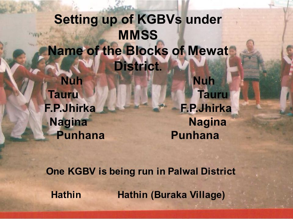 Setting up of KGBVs under MMSS Name of the Blocks of Mewat District.