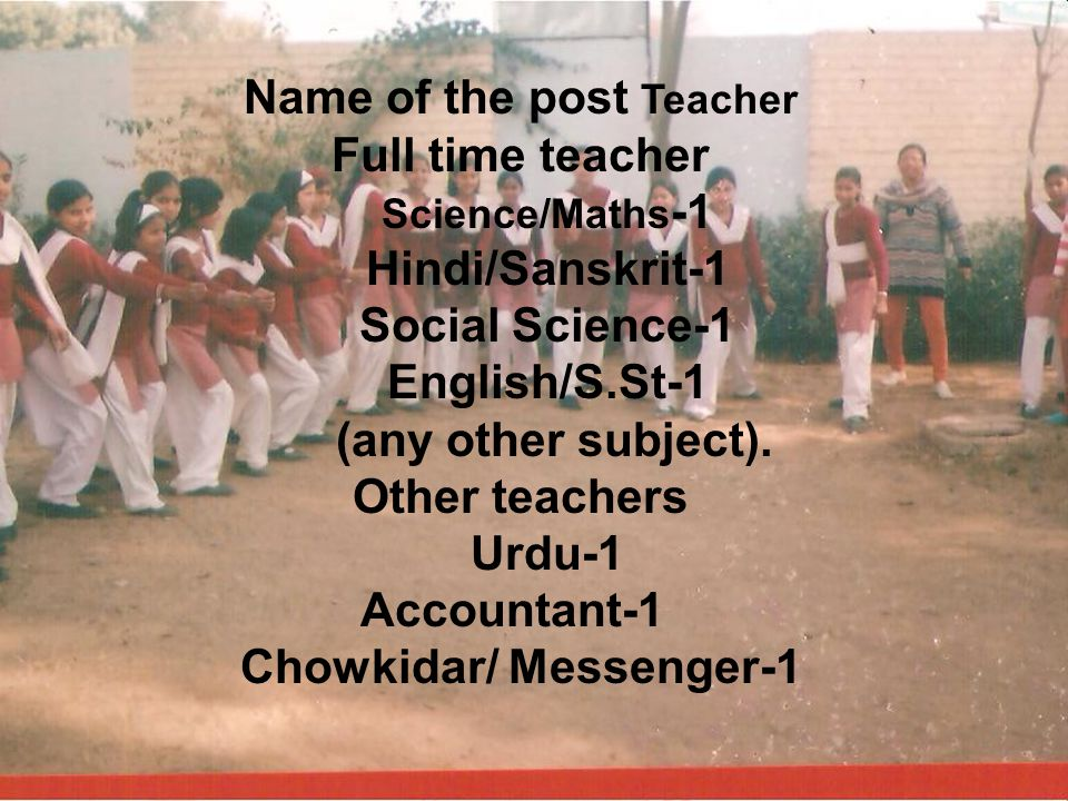 Name of the post Teacher Chowkidar/ Messenger-1