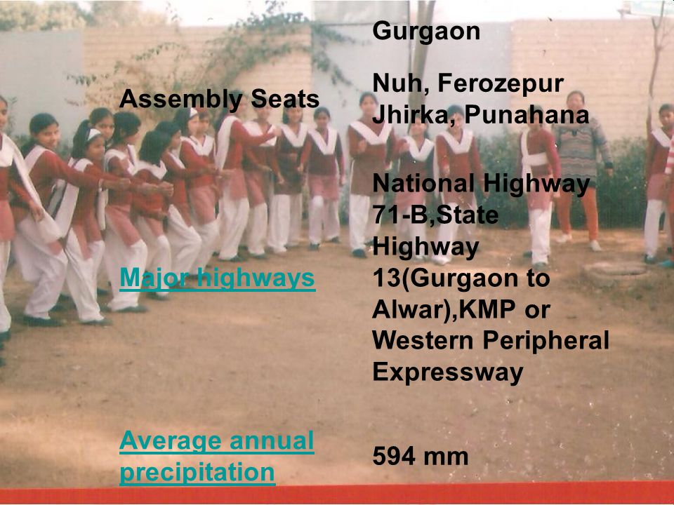 Gurgaon Assembly Seats. Nuh, Ferozepur Jhirka, Punahana. Major highways.