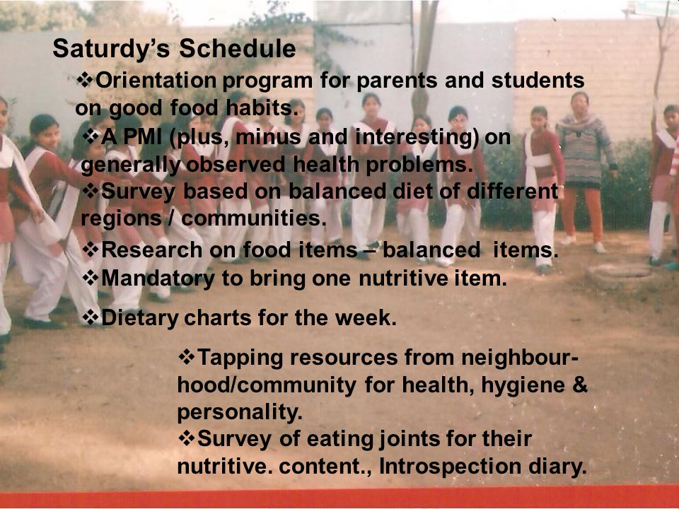 Saturdy's Schedule Orientation program for parents and students on good food habits.