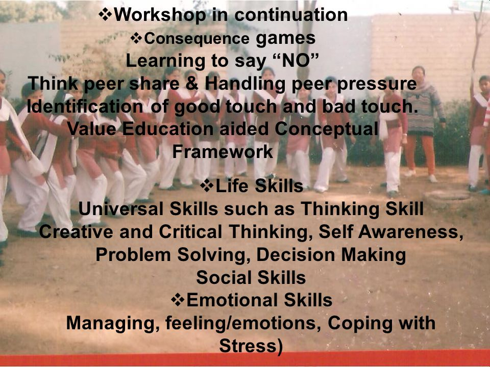 Workshop in continuation Value Education aided Conceptual Framework