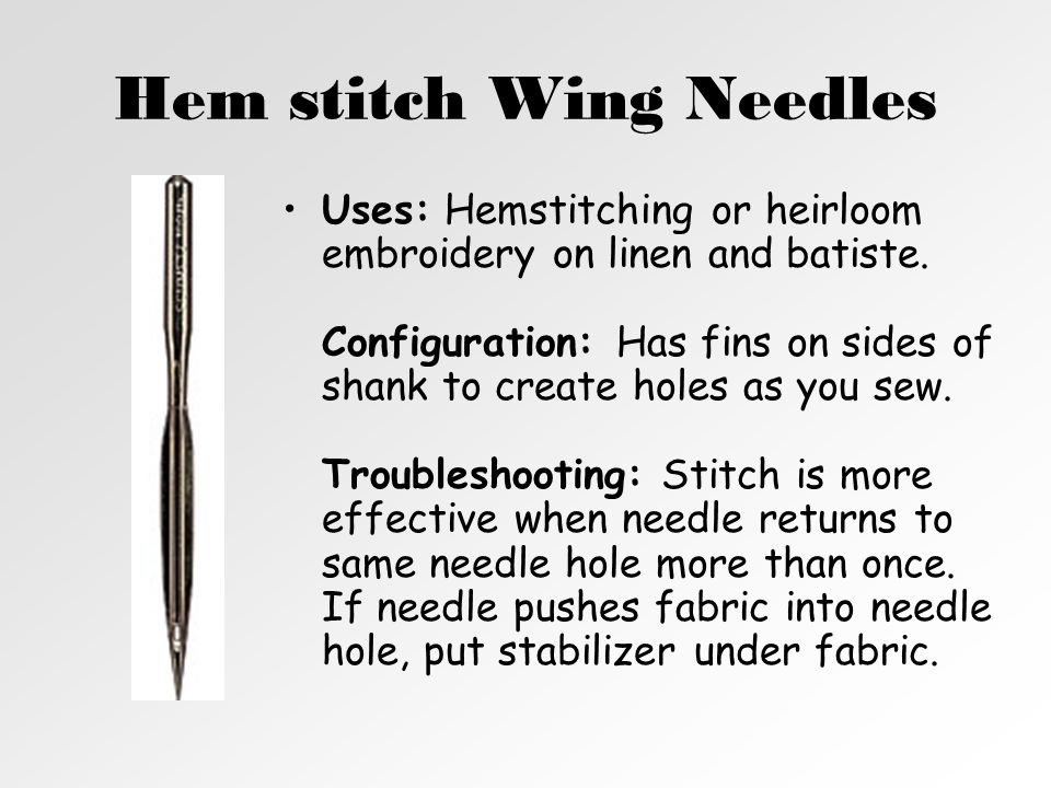 Hem stitch Wing Needles
