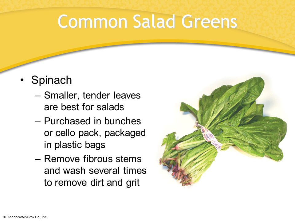 Common Salad Greens Spinach Smaller, tender leaves are best for salads
