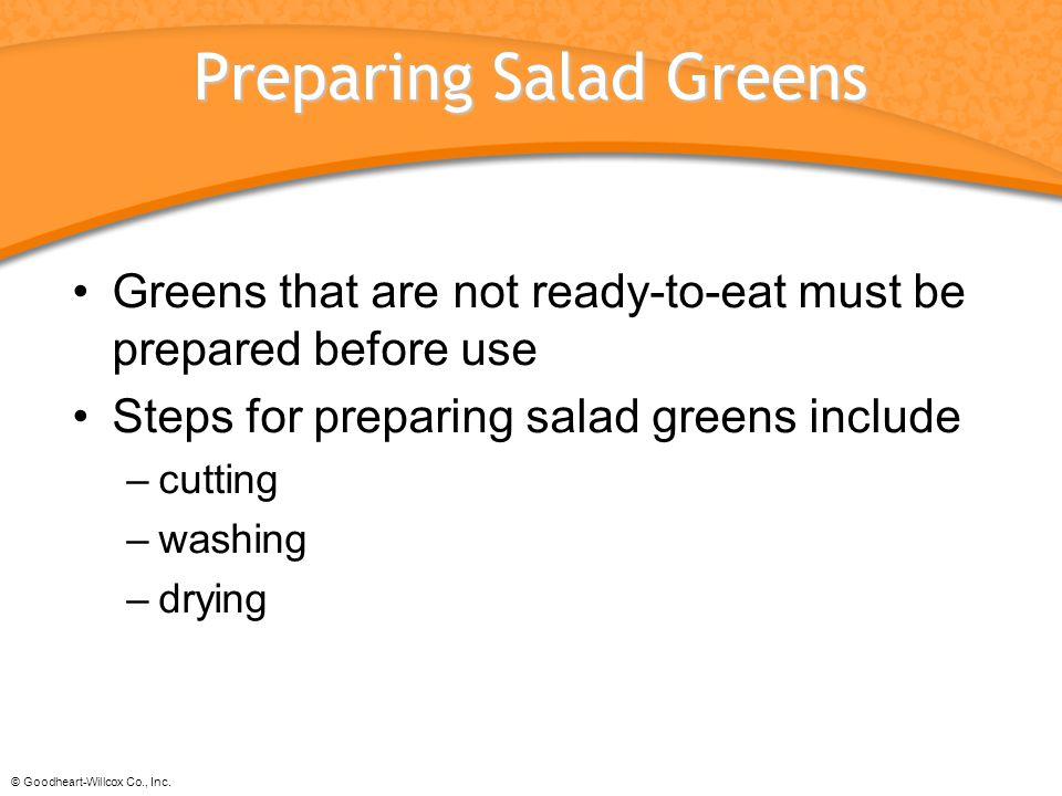 Preparing Salad Greens