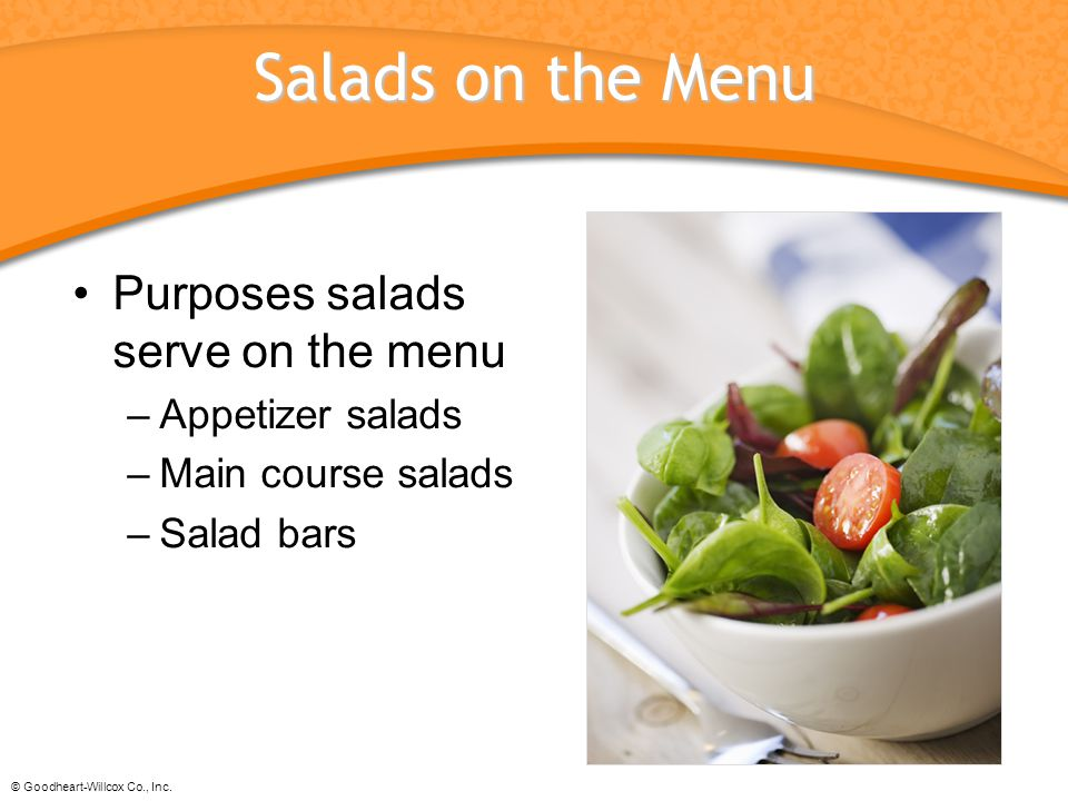 Salads on the Menu Purposes salads serve on the menu Appetizer salads