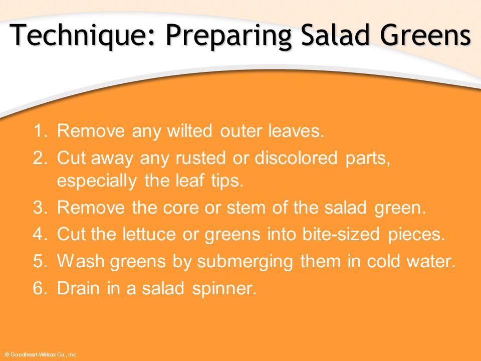 Technique: Preparing Salad Greens