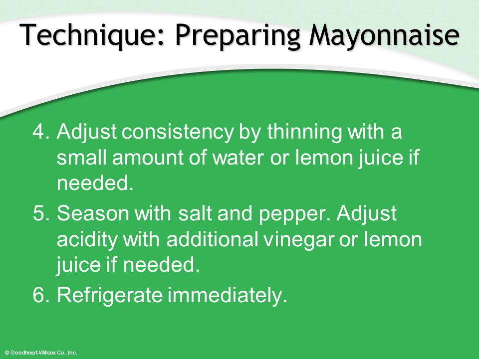 Technique: Preparing Mayonnaise