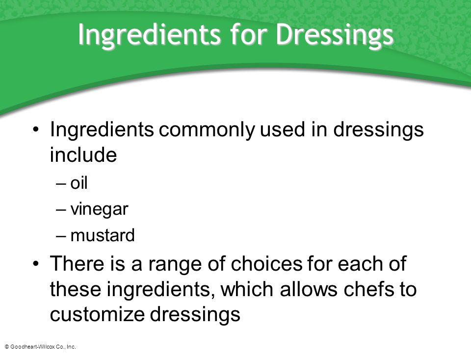 Ingredients for Dressings