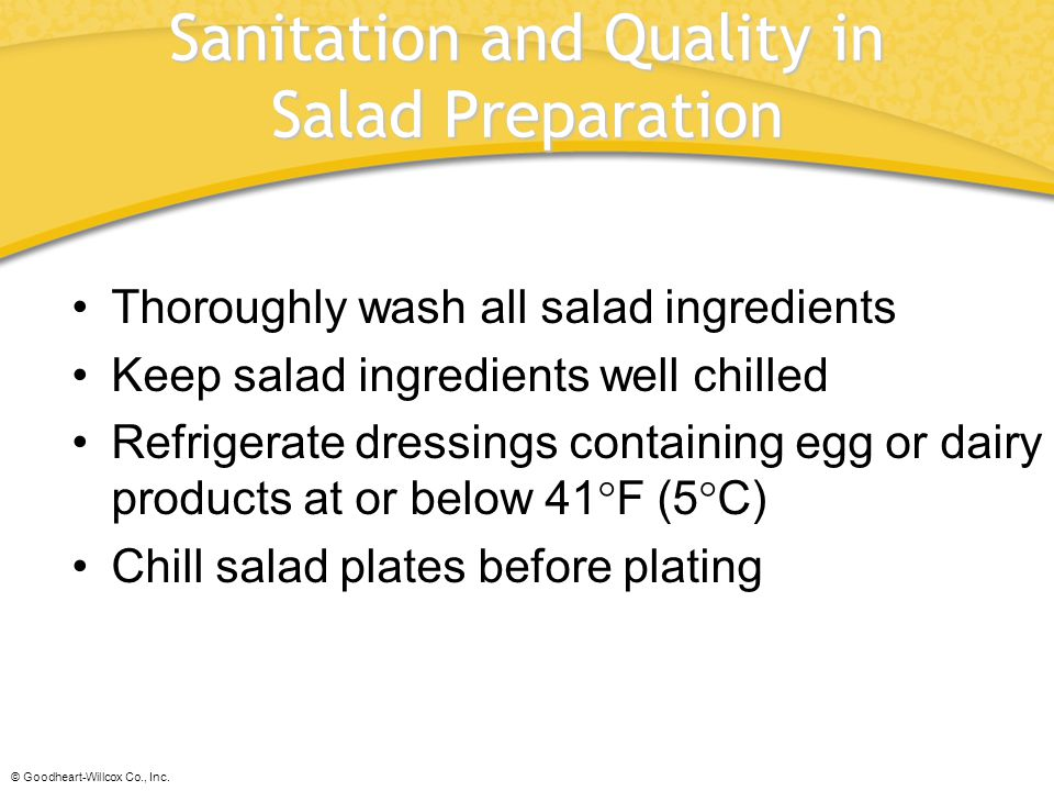 Sanitation and Quality in Salad Preparation