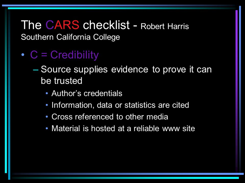 The CARS checklist - Robert Harris Southern California College