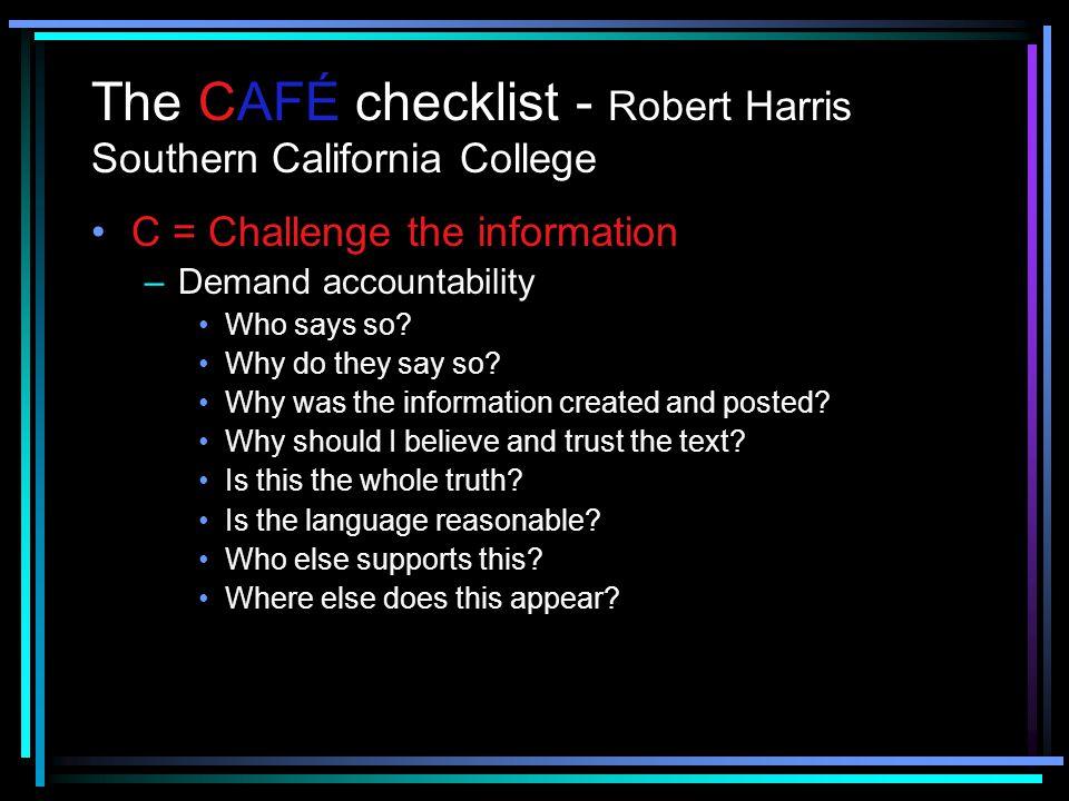 The CAFÉ checklist - Robert Harris Southern California College