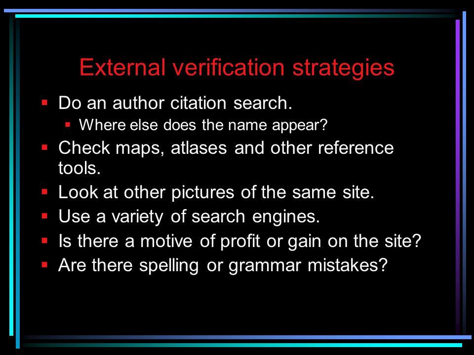 External verification strategies