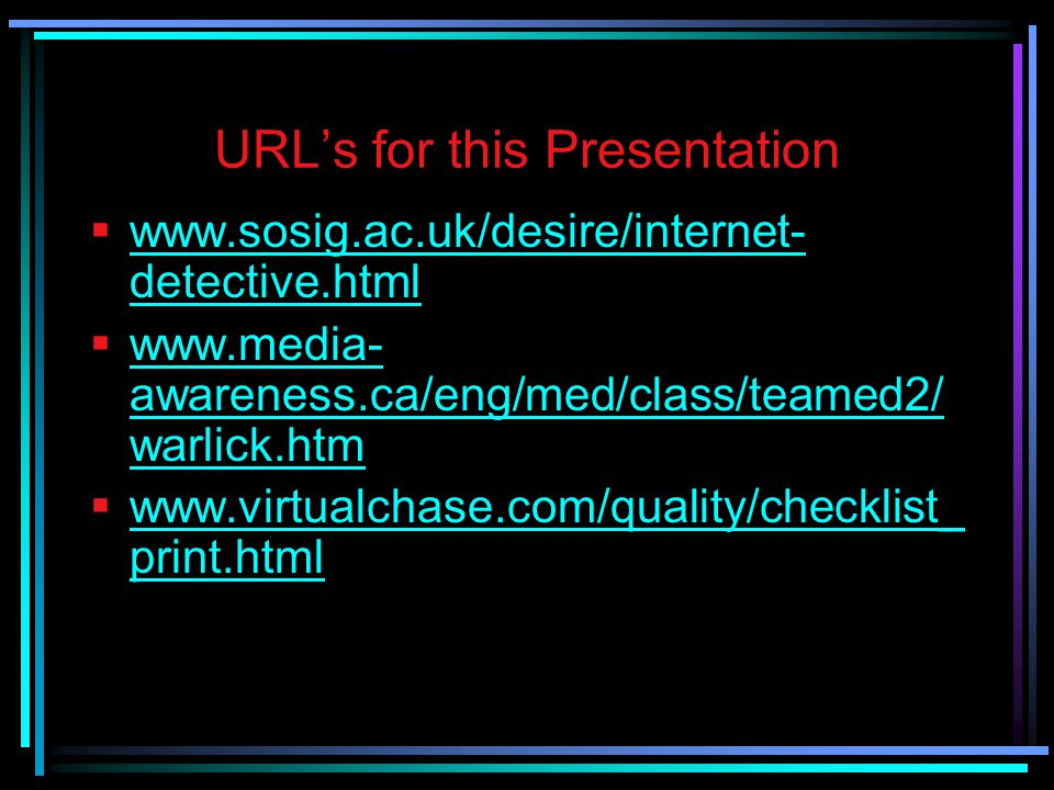 URL's for this Presentation