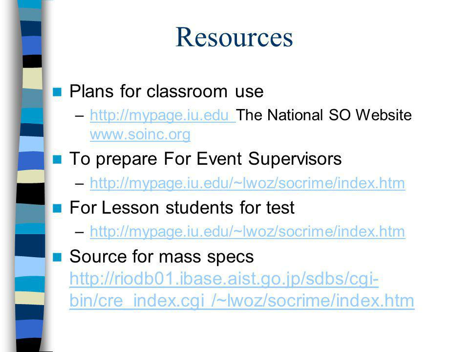 Resources Plans for classroom use To prepare For Event Supervisors