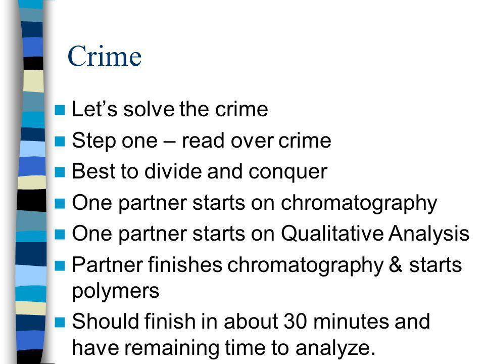 Crime Let's solve the crime Step one – read over crime