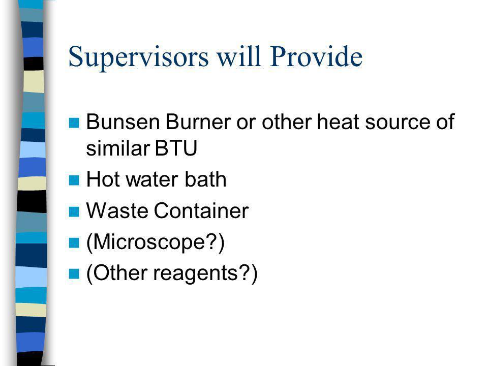 Supervisors will Provide