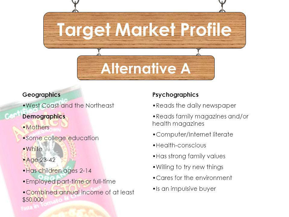 Target Market Profile Alternative A Geographics