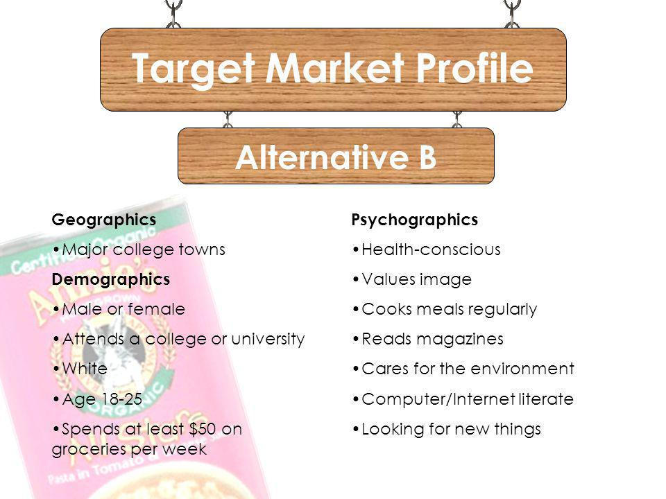 Target Market Profile Alternative B Geographics Major college towns
