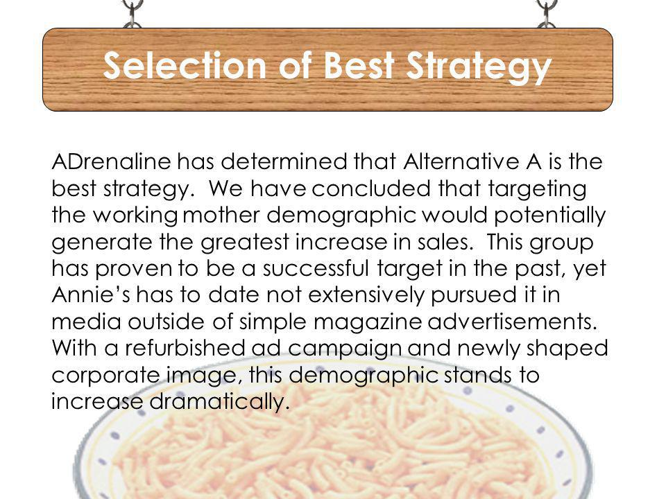 Selection of Best Strategy