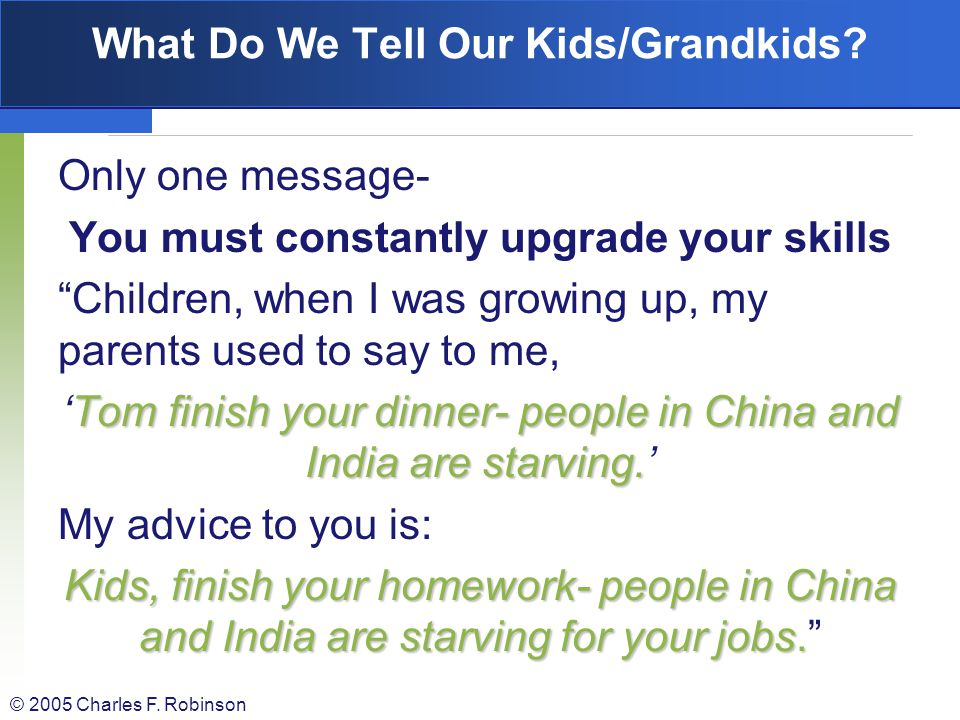 What Do We Tell Our Kids/Grandkids