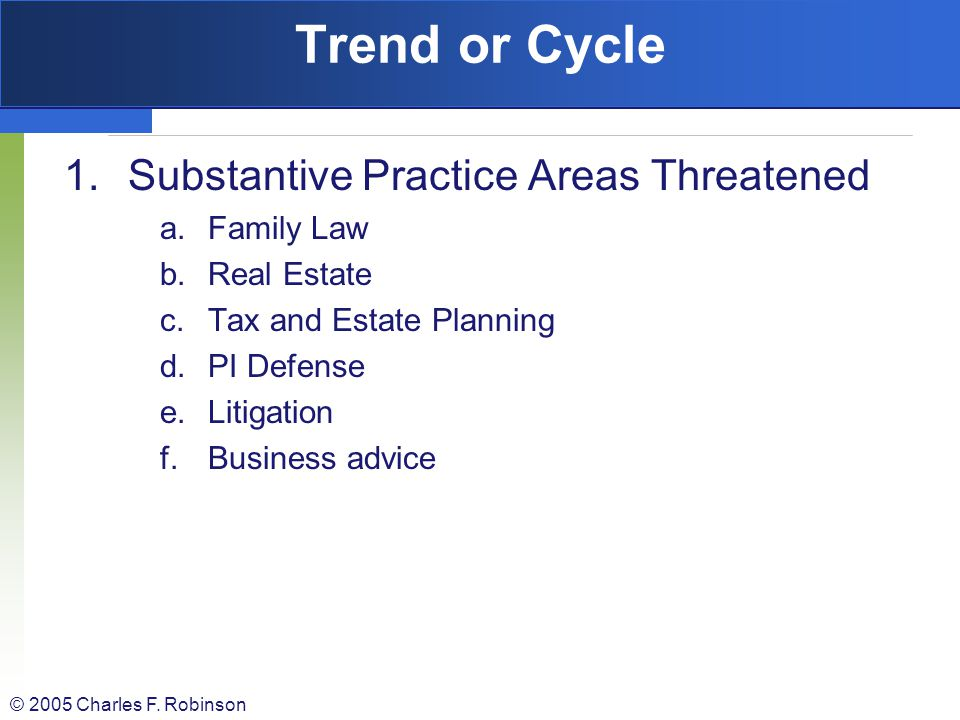 Trend or Cycle Substantive Practice Areas Threatened Family Law