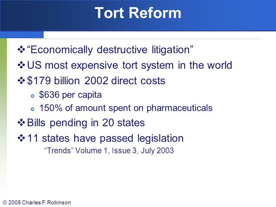 Tort Reform Economically destructive litigation