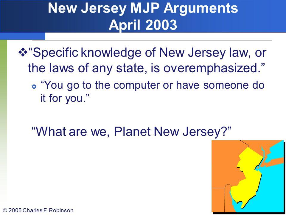 New Jersey MJP Arguments April 2003