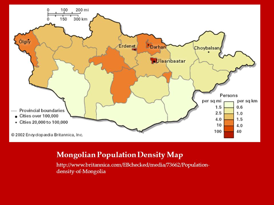 Mongolian Population Density Map