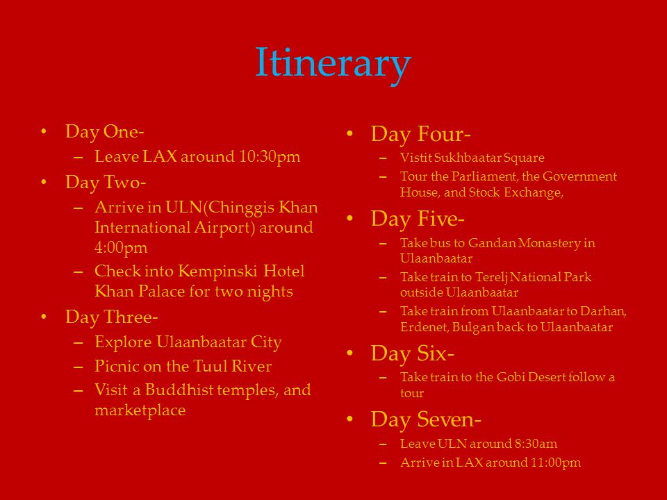 Itinerary Day Four- Day Five- Day Six- Day Seven- Day One- Day Two-