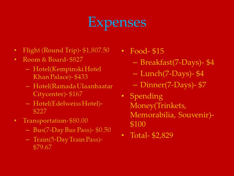 Expenses Food- $15 Breakfast(7-Days)- $4 Lunch(7-Days)- $4