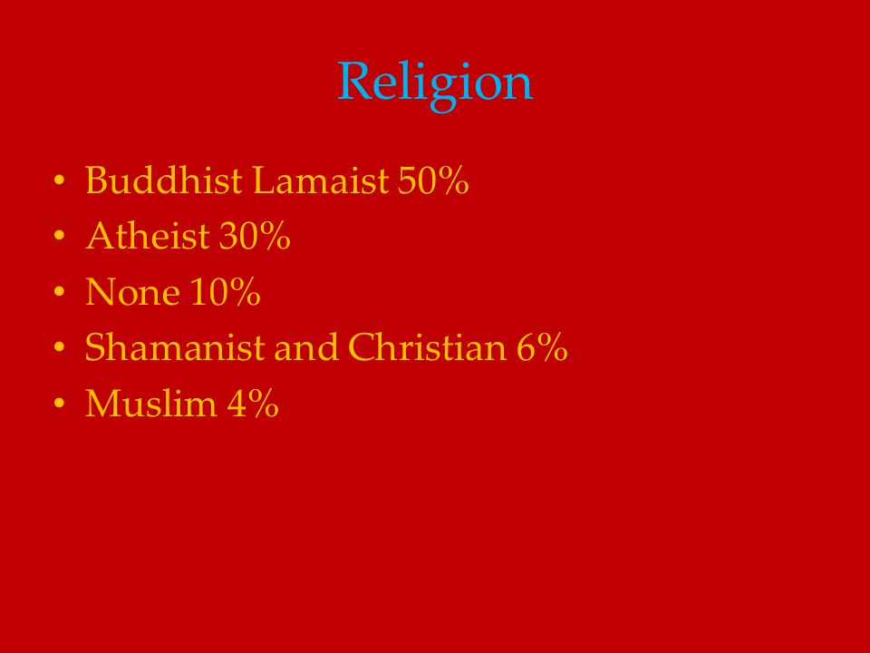 Religion Buddhist Lamaist 50% Atheist 30% None 10%