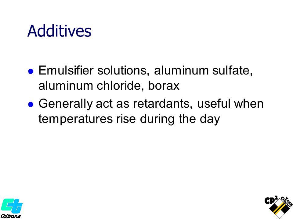 Additives Emulsifier solutions, aluminum sulfate, aluminum chloride, borax.