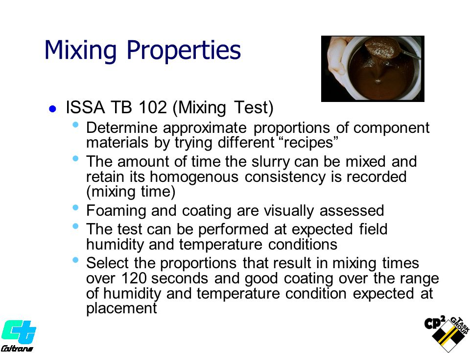 Mixing Properties ISSA TB 102 (Mixing Test)