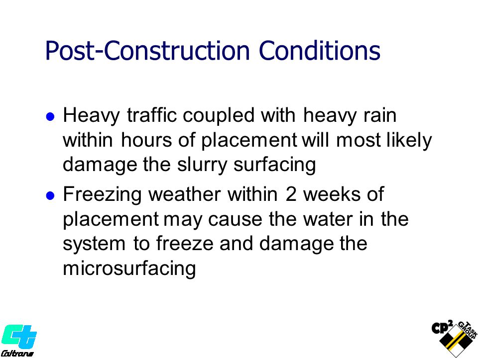 Post-Construction Conditions