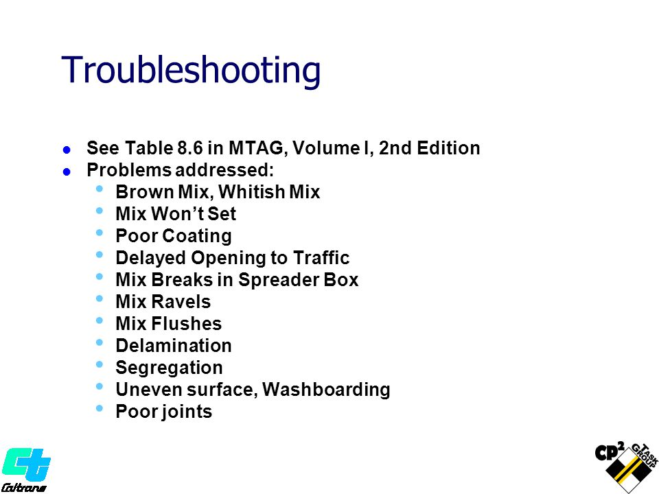 Troubleshooting See Table 8.6 in MTAG, Volume I, 2nd Edition