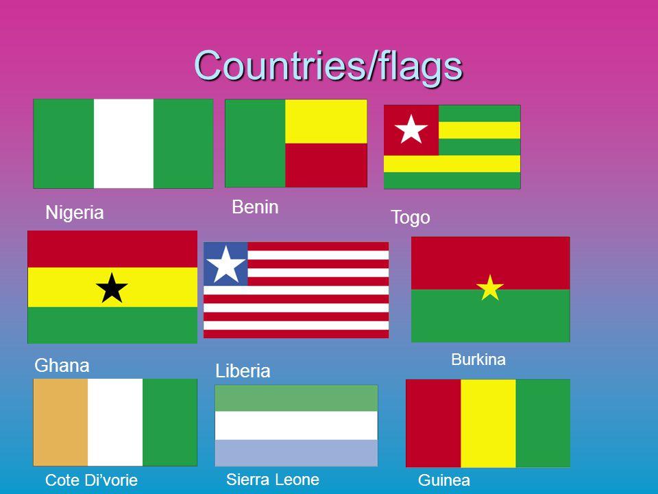 Countries/flags Benin Nigeria Togo Ghana Liberia Burkina Cote Di'vorie