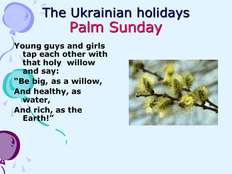 The Ukrainian holidays Palm Sunday