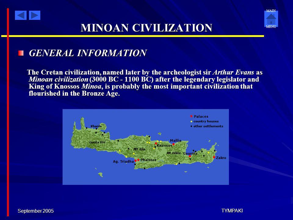 MINOAN CIVILIZATION GENERAL INFORMATION