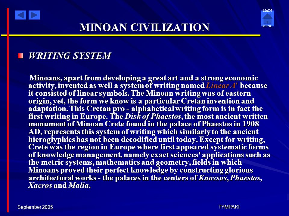 MINOAN CIVILIZATION WRITING SYSTEM