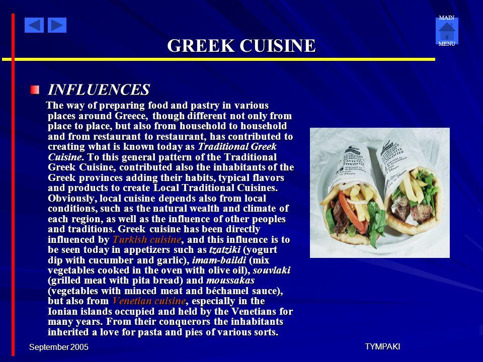 GREEK CUISINE INFLUENCES
