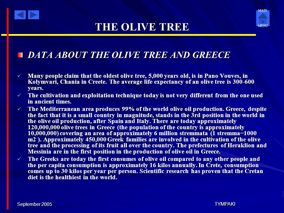 THE OLIVE TREE DATA ABOUT THE OLIVE TREE AND GREECE